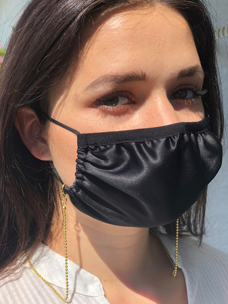 Damen: Seiden-Maske mit Kette