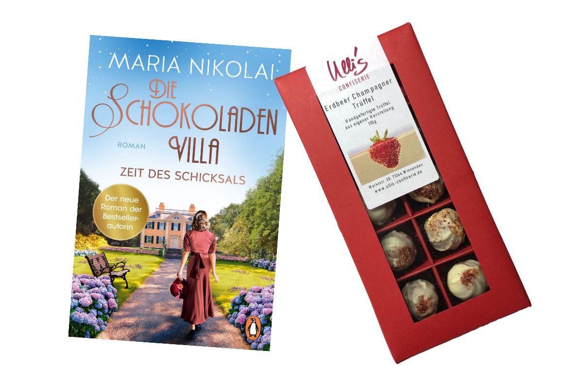 Die Schokoladenvilla Band 3 und weiße Erdbeer-Champagner-Trüffel