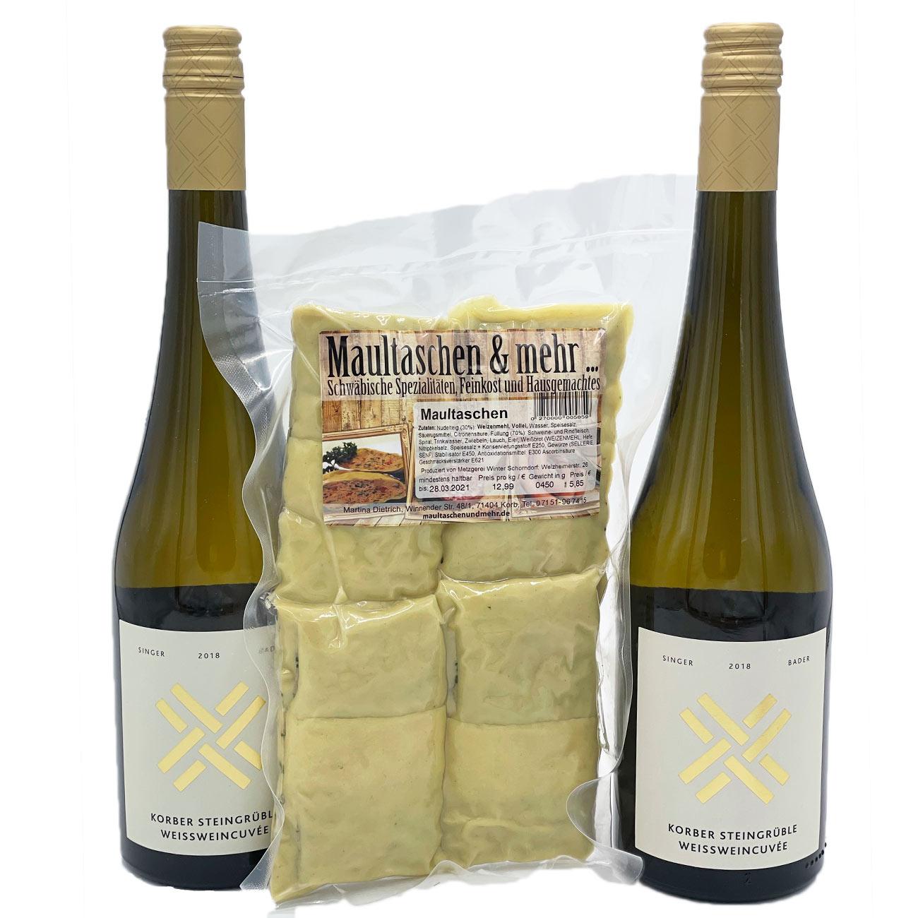 Weinkorb: Wein & Maultaschenpaket