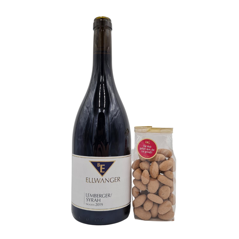 Weinpaket Lemberger Syrah mit Kakaobohnen in Schokolade